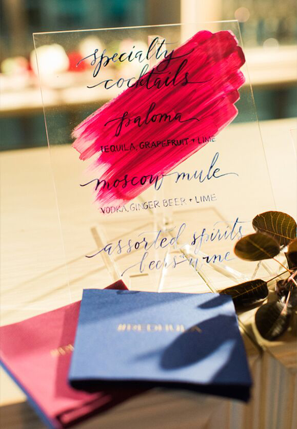 Hand Painted Acrylic Cocktail Menu by Anne Robin Calligraphy