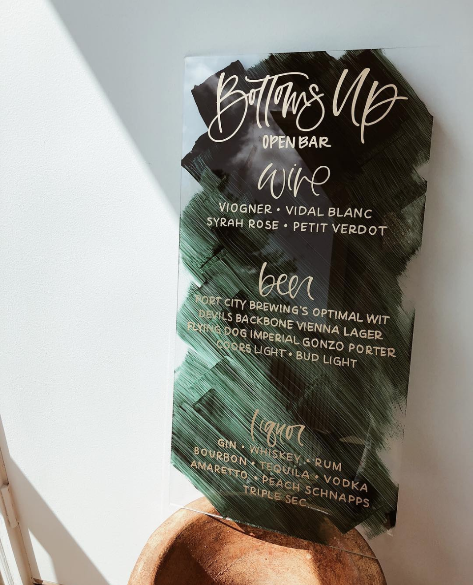 Hand Painted Acrylic Drink Menu by Bare Ink Co.