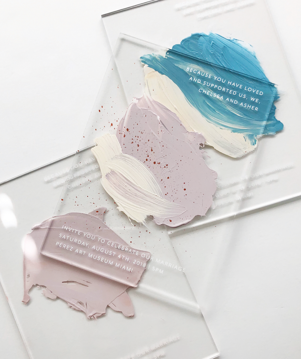 Hand Painted Acrylic Wedding Invitations by Swell Press