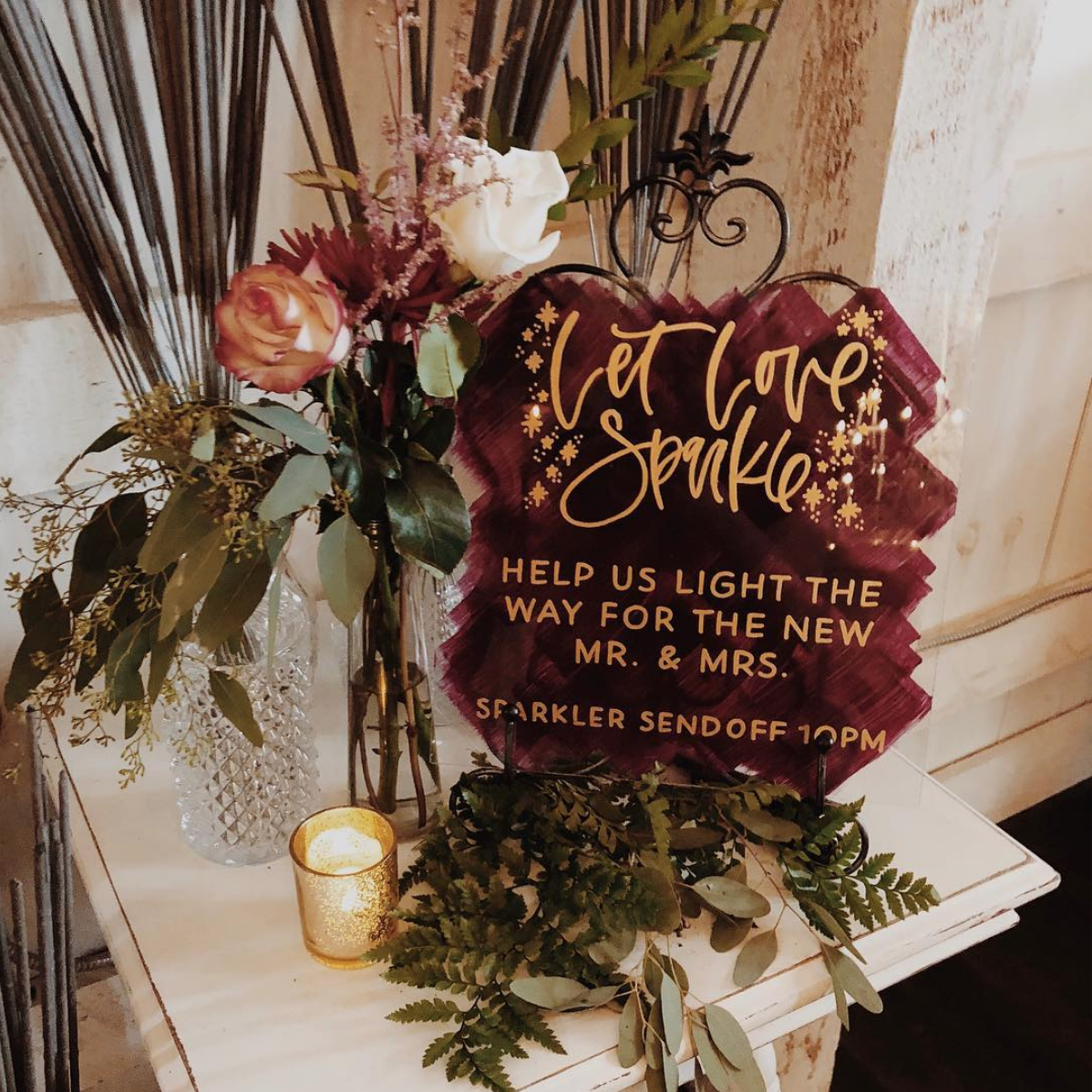 Hand Painted Acrylic Wedding Sign by Bare Ink Co.