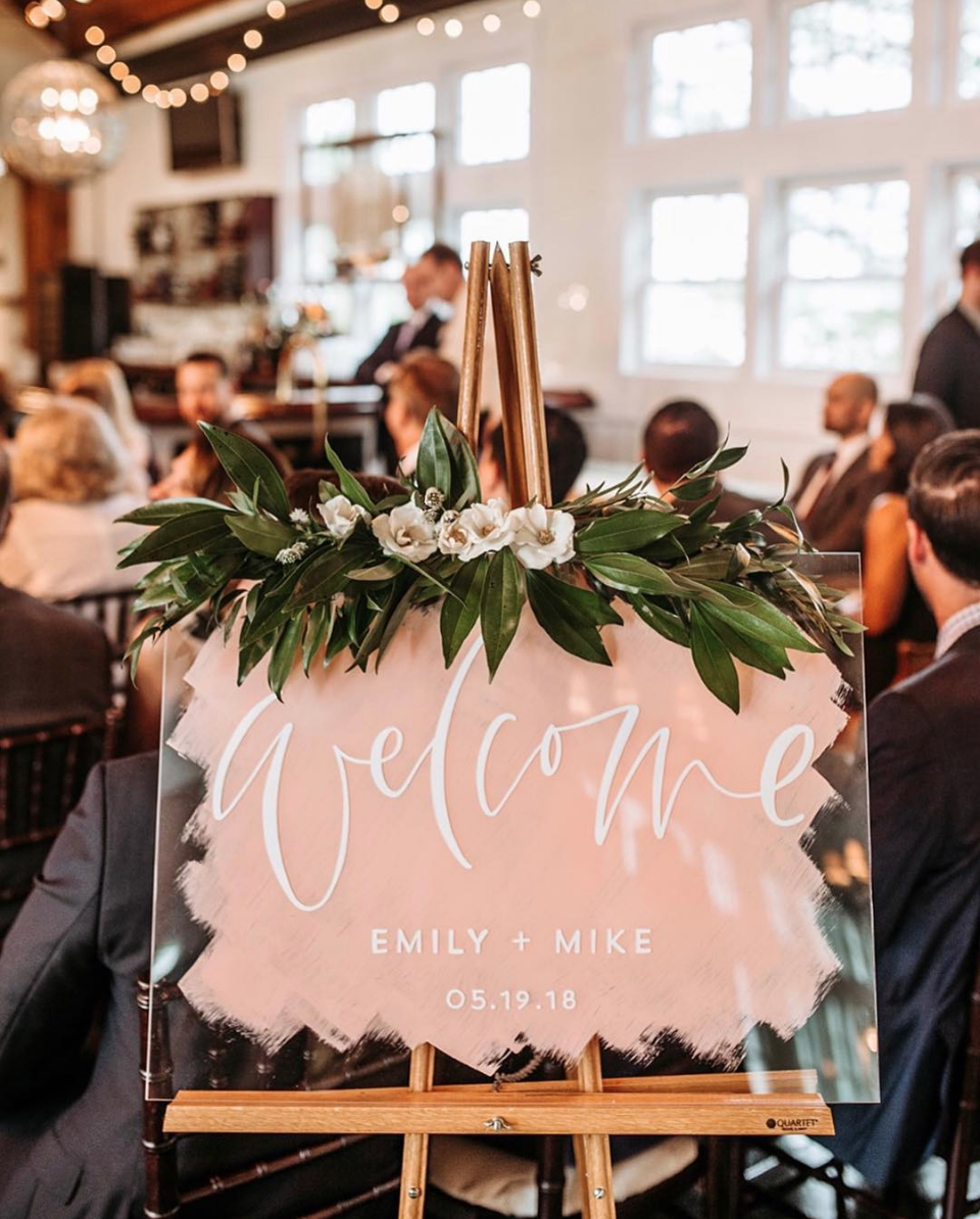 Hand Painted Acrylic Welcome Sign by Bare Ink Co.