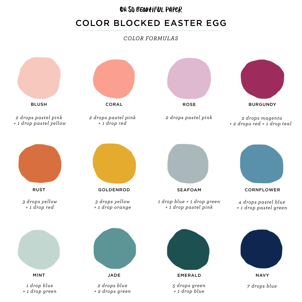 DIY Modern Color-Blocked Easter Eggs Color Formulas