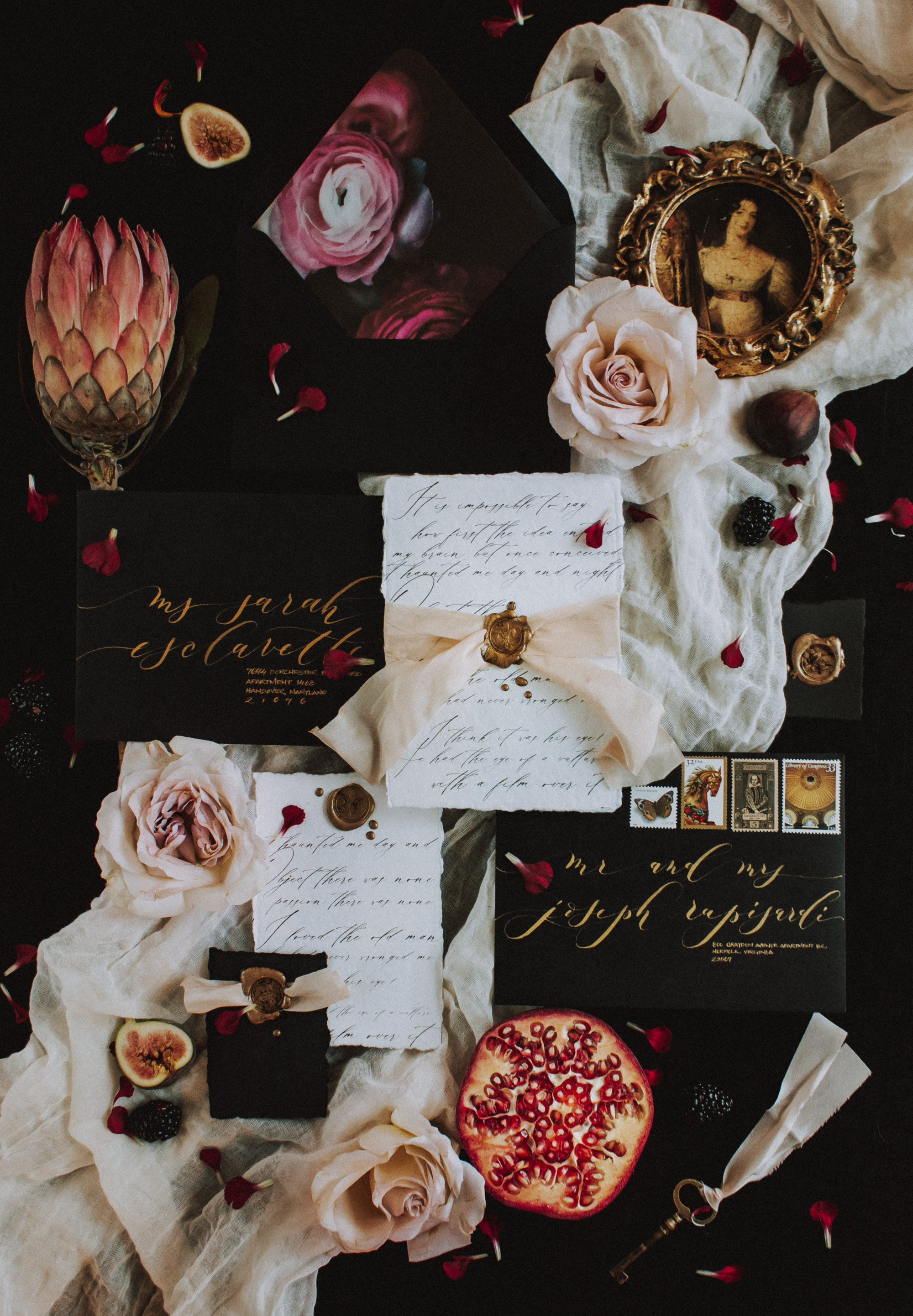 Romantic Black, White, and Gold Calligraphy Stationery Inspiration by Lustre Theory with Seniman Calligraphy on Fringe & Rose Handmade Paper