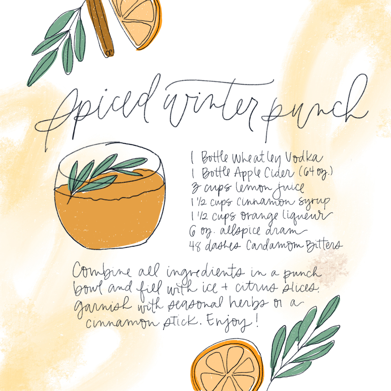Spiced Winter Punch Holiday Cocktail Recipe