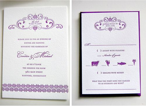 Purple Gold Wedding Invitations – Gold and Purple Wedding Invitations