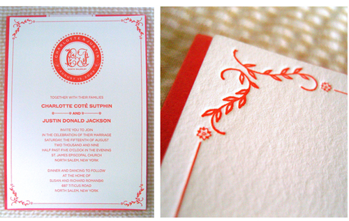 500wi Seersucker Letterpress Wedding Invitations