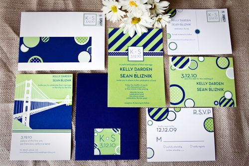Kelly + Sean\'s Preppy Blue and Green Wedding Invitations