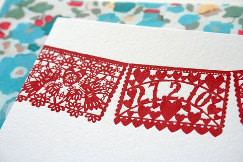 red + aqua papel picado wedding invitations, Wedding invitations