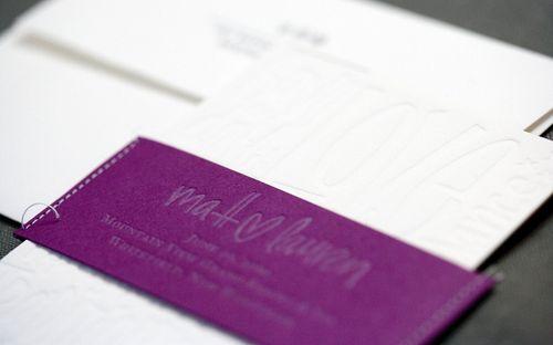 Purple-Letterpress-Wedding-Invitation-Belly-Band